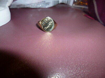 Gents Signet Ring In 9Ct Solid Gold, Engraved With A J