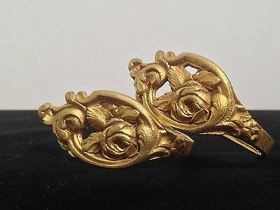 Pair Pretty Vintage/Antique Gilt Brass/Bronze Curtain Hold Backs with Roses
