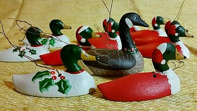 11 Wooden Handpainted Duck Decoy Goose Ornaments Miniature Hanging Christmas