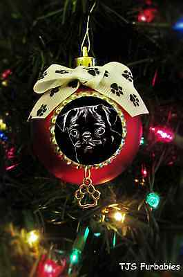 Black Pug Puppy Painted Christmas Ball Ornament Pet Lovers Gift by TJS Furbabies