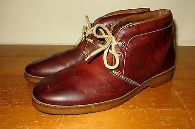 Vintage 70s Brown Leather Mens 8 D Gum Sole Chukka Boots