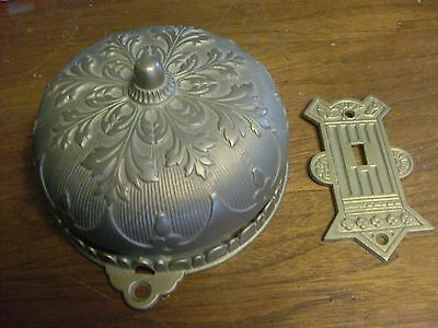 1870's Ornate Brass Door Bell and 'Striker Plate', Sargent & Co. Mfg.