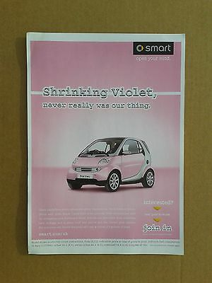 Smart Fourtwo `pink` Edition Sales, Brochure, Handbook, Shrinking Violet, New.