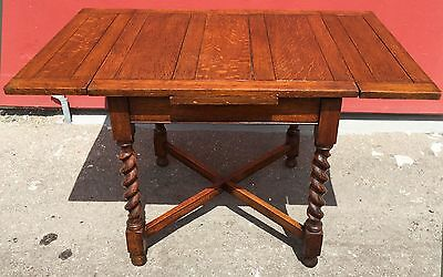 Antique Oak English  Barley Twist Draw Leaf Dining Table