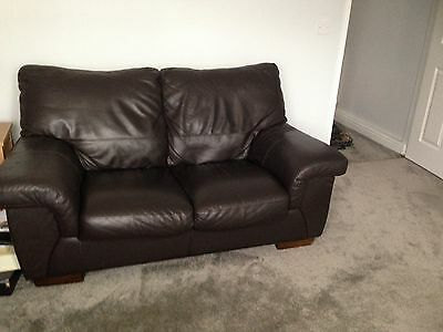 Sofology Brown Leather 2 And 3 Seater Sofas