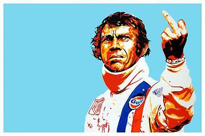 Steve McQueen  *POSTER*  F*CK YOU Le Mans CAR RACING - MUST SEE POP ART Image