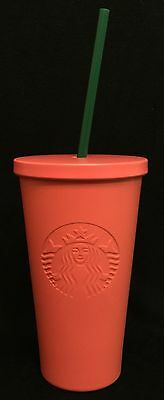 NEW 2016 STARBUCKS STAINLESS STEEL COLD CUP MATTE ORANGE MINT MUG TUMBLER 16oz