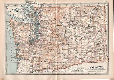 1903 Britannica Antique Map Usa Washington Seattle Spokane
