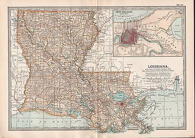 1903 Britannica Antique Map Usa Louisiana New Orleans