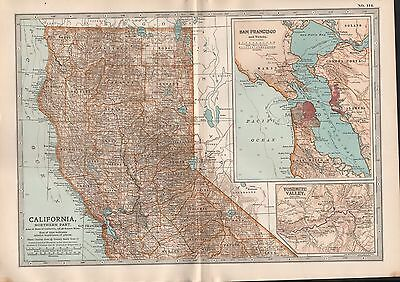 1903 Britannica Antique Map Usa California Northern Part San Francisco Yosemite