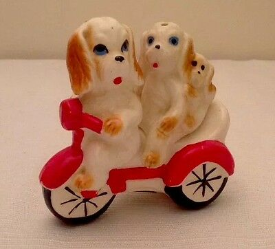 Dogs On A Tricycle Stacker Salt And Pepper Shakers (1960's, Japan)