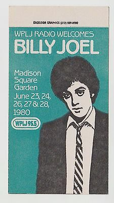 Billy Joel 1980 Wplj Madison Square Garden Backstage Pass Cloth Concert Sticker