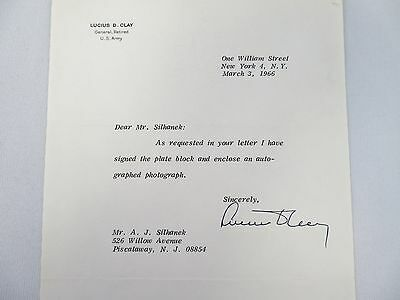 1966 - LUCIUS D. CLAY autographed/signed letter RETIRED US ARMY GENERAL vintage