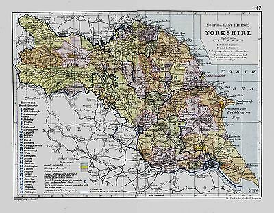 An antique map of Yorkshire North East Riding, England, C1897.