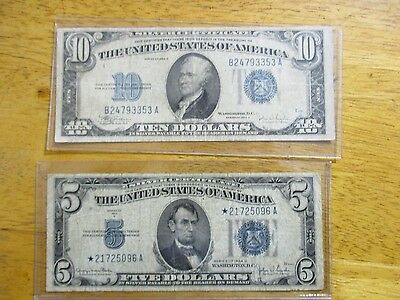 2 Old Silver Certificates  1934 $5.00 Star Note
