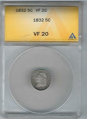 1832, Capped Bust Half-Dime,.5C, VF-20, ANACS; .