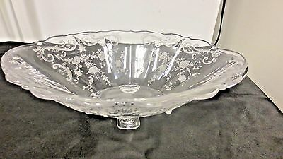 Fostoria Elegant Etched Glass Cambridge Chantilly Handled Oval Bowl-4 Toed Clear