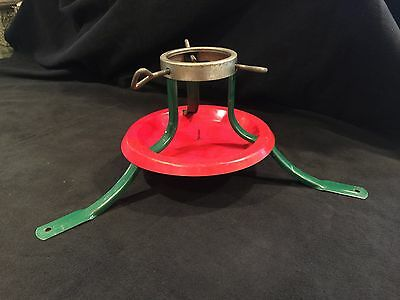 50s 60s Vintage CHRISTMAS TREE STAND Green & Red metal