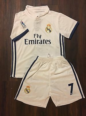 Real Madrid White Home Ronaldo #7 Soccer Kids Jersey + Shorts Size 24 (8-9 Years