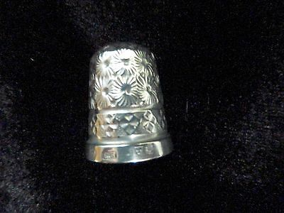 Charles Horner Chester silver thimble, size 7, hallmarked 1913, floral pattern