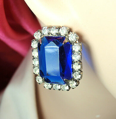 Antique Vintage Art Deco Big Clear Rhinestone Blue Sapphire Glass Stone Earrings