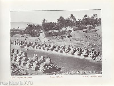 "Vintage Antique Print of Egypt 1900's - ""Kamak. Avenue of the Sphynxes""."