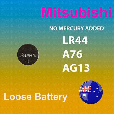 100~50~6~2~1 x LR44 Genuine Mitsubishi 0%Hg Loose Battery A76/AG13 1.5V Cell