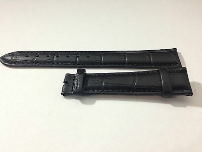 Black 18Mm Leather Gents Watch Strap, No Buckle