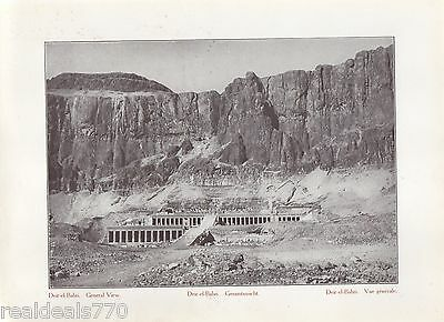 "Vintage Antique Print of Egypt 1900's - ""Deir-el-Bahri""."
