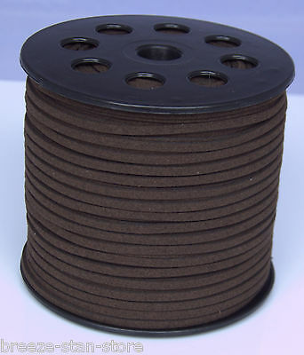 100 yd. 3mm dark brown Suede Leather String Jewelry Making Thread Cords