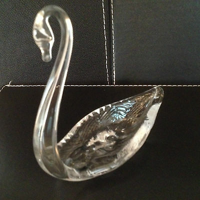 Collectable Murano Type Clear Glass Swan