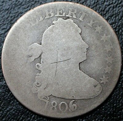 1806/5 B-1 Draped Bust Quarter Dollar 6 over 5 Over-Date 25C Silver Coin