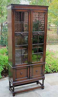 Antique English Oak Jacobean Style BARLEY TWIST 2-Door Bookcase Display Cabinet