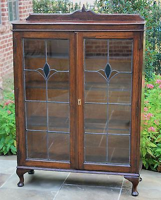 Antique English Oak Leaded Stained Glass Bookcase Display Cabinet Art Deco