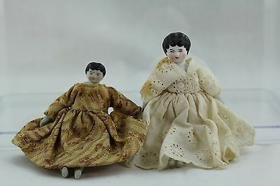 Two Sisters Antique Bisque Shoulder Head Doll House Dolls In Antique Clothes