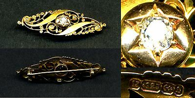 15k solid yellow gold & diamond brooch/pendant (late victorian)  Valentine's day