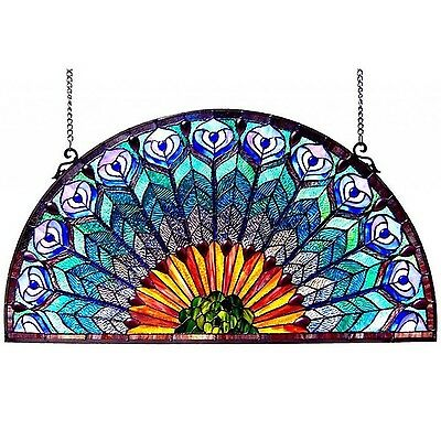 "35"" Wide Large Peacock Design Half Round Circle Stained Glass Window Panel"