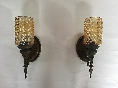 Antique Victorian Sconce Set Wall Mounted Electric Light Fixture-Brass Metal