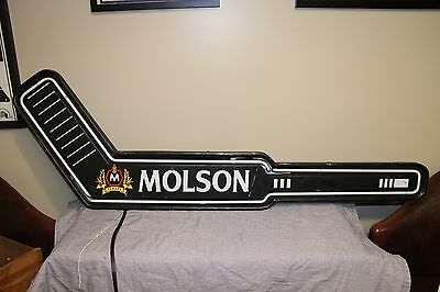Vintage Molson Beer Hockey Stick Neon Light Up Sign Game Room Bar Canada Rare
