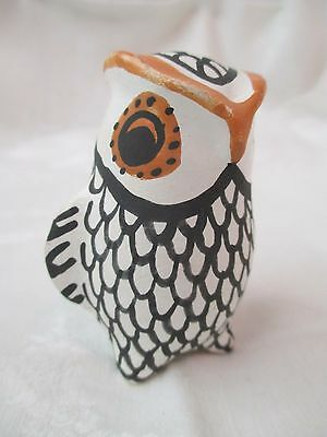 Vintage Acoma Pottery New Mexico polychrome Owl signed LV