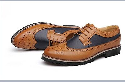 New Mens Smart Wing Tip Brogue Leather Oxford Shoes Formal/Dress Yellow UK 7.5