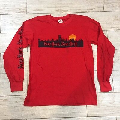 NEW YORK Skyline 1980's Vintage 50/50 Long Sleeve Shirt SPELL OUT Shirt Large