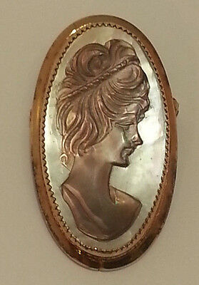 Vintage Estate Cameo Jewelry Pin Brooch 12k 1/20 Gold Filled