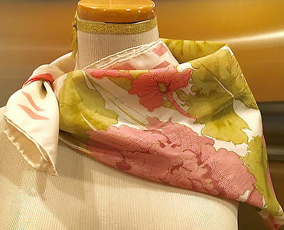 ANTHROPOLOGIE White Pink Green Silk Scarf Top Floral Flowers Large 34 x 34