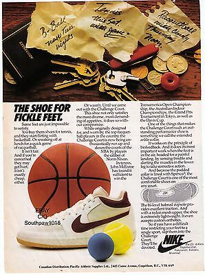 """1981 Nike """"Challenge Court"""" 'The Shoe For Fickle Feet' Print Advertisement"""