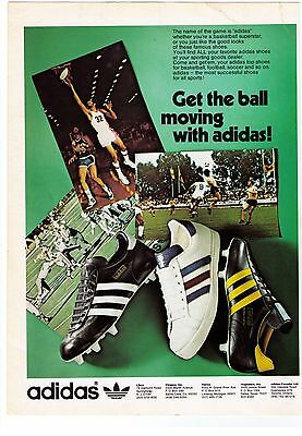 """1970's Vintage Adidas """"Get The Ball Moving With Adidas""""  Print Advertisement"""