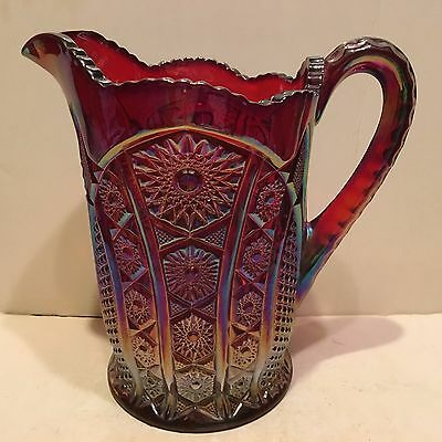 "Vintage Indiana Red Carnival Glass Heirloom Daisy Pitcher 8"" Tall"