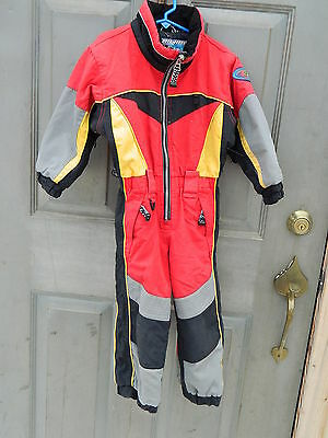 Kid's Obermeyer Competition Snowsuit - Size 3 - Red, Yellow, Black - Used