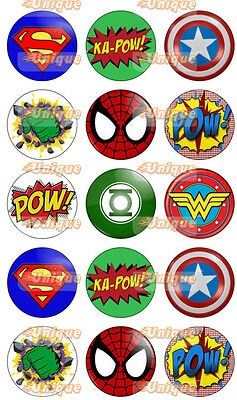 Edible Image Cupcake Topper  Rice / Wafer paper Avengers #1 Superheroes