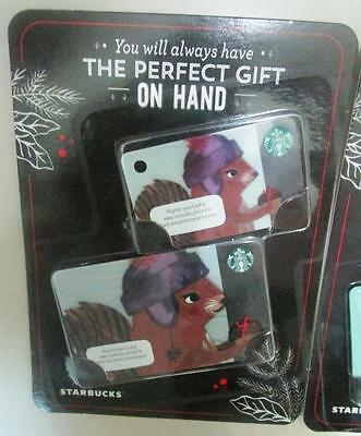 2016 set of 2 STARBUCKS Christmas Cards Squirrel PHILIPPINES mint on card
